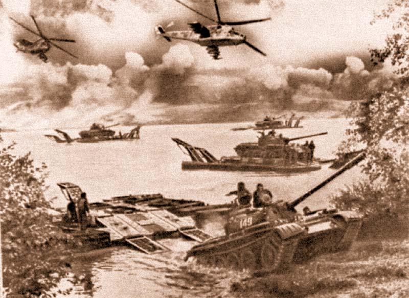 Переправа танков на паромах во время учений