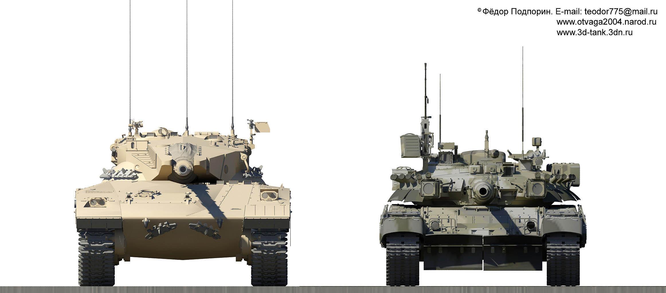 Танк «Меркава» Mk1 в сравнении с Т-80УК