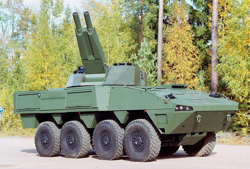Одной из первых серийных машин Patria AMU стала минометная система Patria AMOS