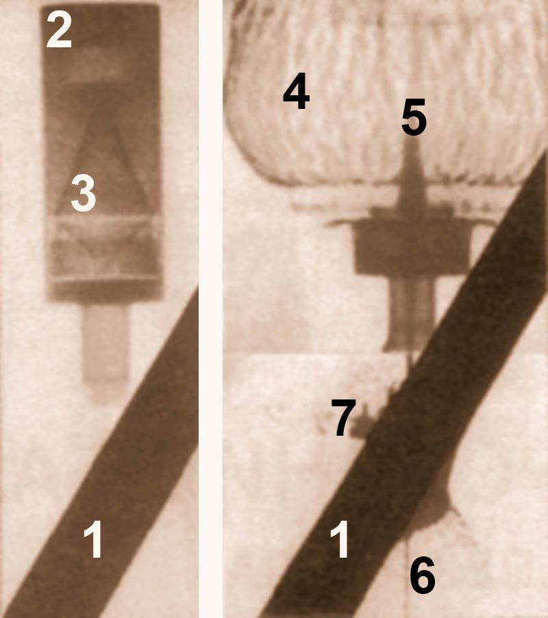 Рис. 2. Импульсный рентгеновский снимок детонации кумулятивного заряда. 1 – броневая преграда; 2 – кумулятивный заряд; 3 – кумулятивная выемка (воронка) с металлической облицовкой; 4 – продукты детонации заряда; 5 – пест; 6 – головная часть струи; 7 – вынос материала преграды.
