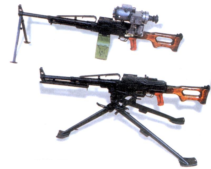 Единый пулемет «Печенег»: ротный вариант (сверху) и батальонный вариант на станке (снизу)
