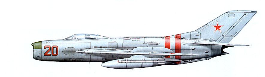 МиГ-19ПМЛ из ВВС Прикарпатского военного округа, 1967 в. Полосы на хвостовой части фюзеляжа указывают на его участие во вводе войск в Чехословакию