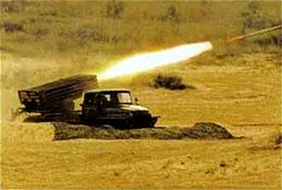 122-мм реактивная система «Град» ведёт огонь