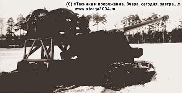 130-мм морская нарезная пушка С-70 с механизмом заряжания  на полигонных испытаниях