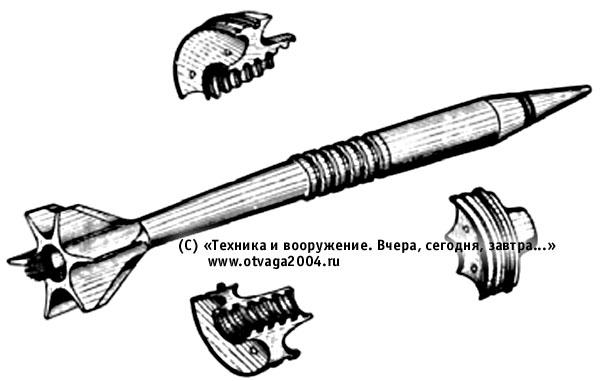 Подкалиберный снаряд ЗБМ4 в полете