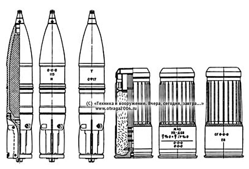 115-мм выстрел ЗВОФ18 раздельного заряжания с осколочно-фугасным снарядом ЗОФ17