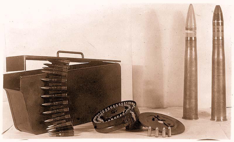 Винтовочные патроны к пулемету и снаряды танка «Виккерс»