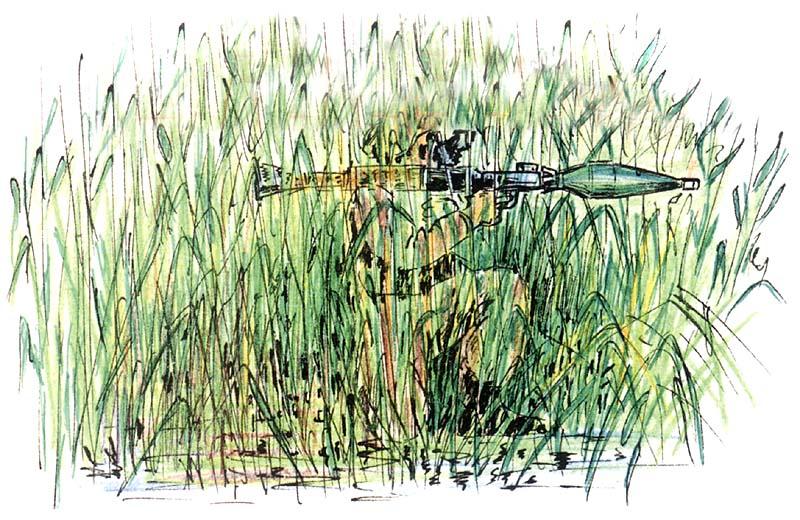 Хорошо маскируют огневую позицию гранатомёта заросли высокого кустарника, камышей, посевов кукурузы и других травянистых растений высотой более двух метров