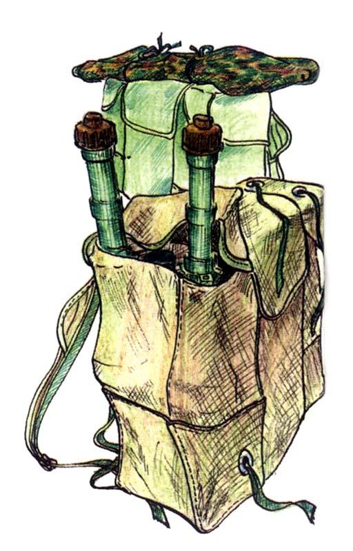 Для переноски выстрелов использовались десантные рюкзаки РД-54, гранаты в которых переносились в боковых карманах головной частью вниз. Иногда для маскировки выстрелы укладывались попарно в специально изготовленные для этих целей матерчатые чехлы