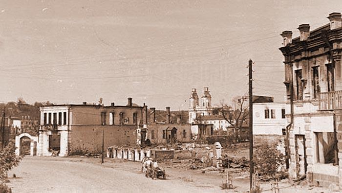 Сгоревшие кварталы города Орша