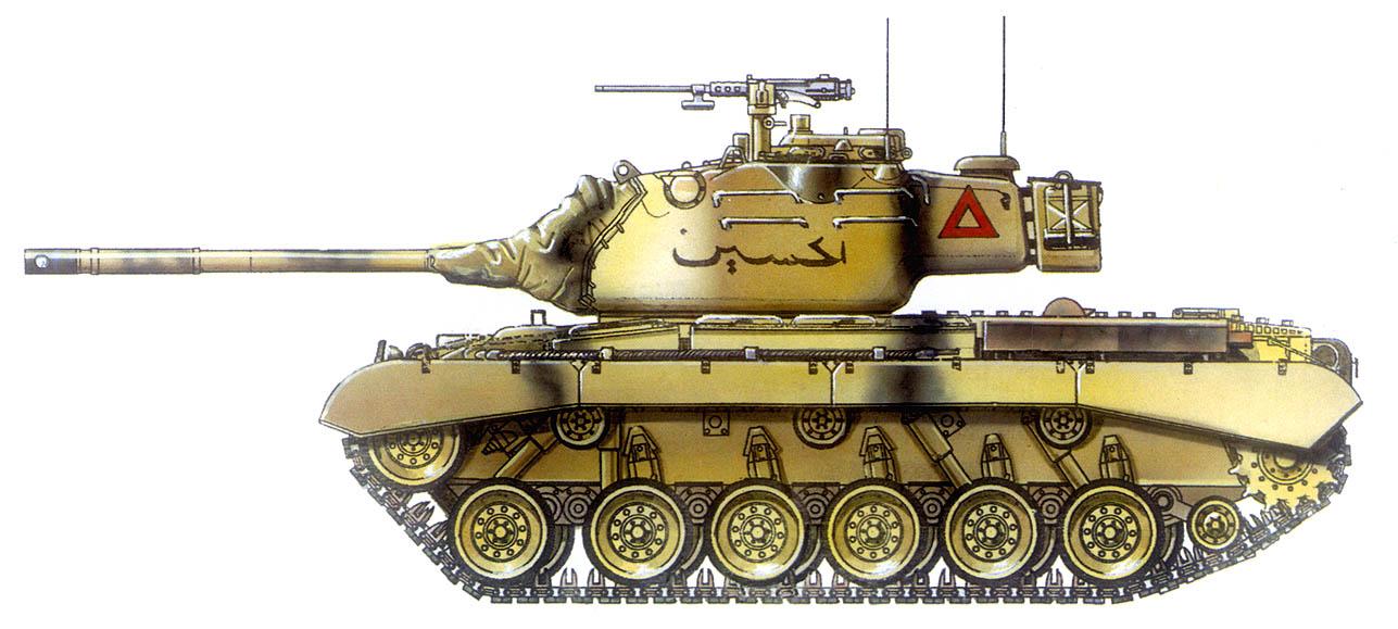 Средний танк М47. 4-й танковый полк 40-й иорданской танковой бригады, 1967 г. На борту машины черной краской нанесено ее название – «Аль-Хуссейн»