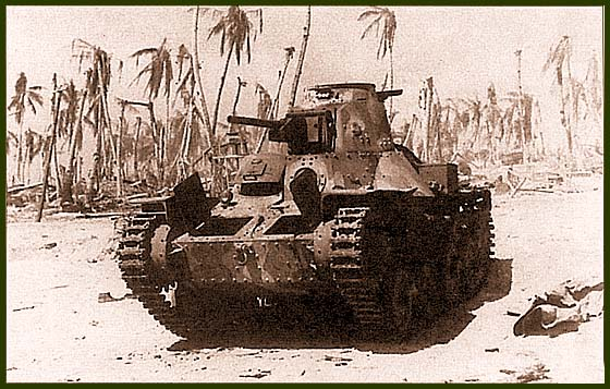 Тип 95 «Ха-го» из состава 7-го специального морского танкового отряда, подбитый огнем «шерманов» морской пехоты США. Тарава, ноябрь 1943 года