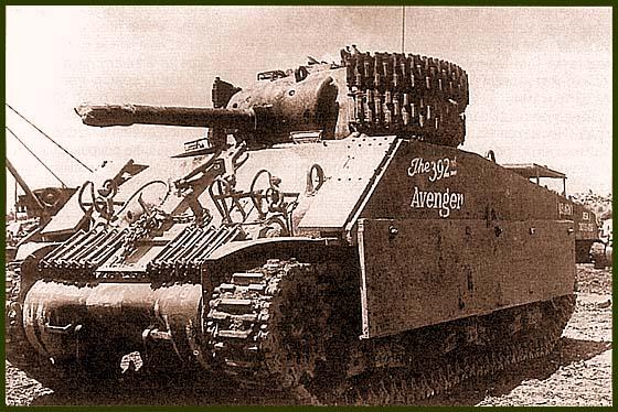 «Шерман», оснащенный дополнительной бронёй для защиты от ручных противотанковых средств японской пехоты. Такие танки использовались морской пехотой США на заключительном этапе боев за Окинаву