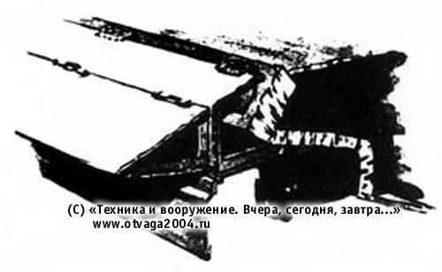 Вариант установки бортового складного сплошного экрана на танке Т-10