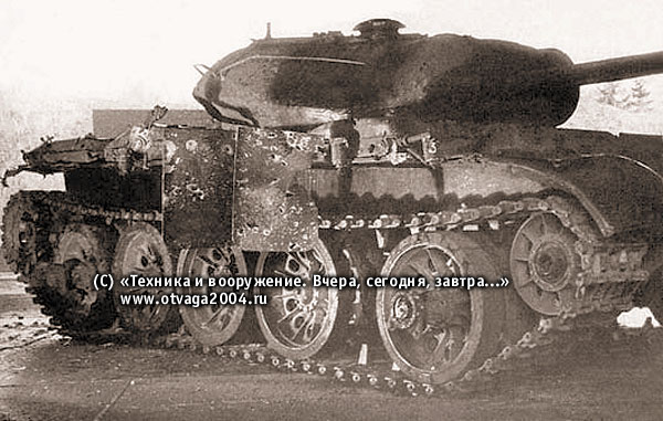 Разрушение бортовых экранов ЗЭТ-1, установленных на танке Т-54, после обстрела