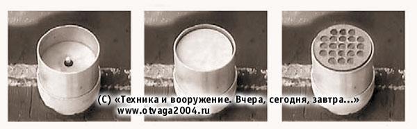 Защитный боеприпас осколочного типа, используемый в активной защите танка (показана последовательность снаряжения)