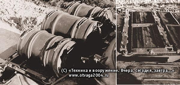 Установка дополнительных топливных бочек на танке Т-54 по предложению представителей ПрибВО. На фото справа видны места крепления бочек
