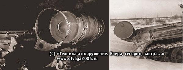 Места крепления бочек (слева). Установка дополнительных топливных бочек по предложению представителей завода №183 на танке Т-54 не мешало ему преодолевать вертикальные препятствия (справа)