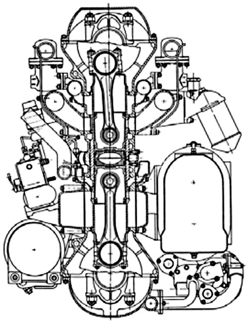 Поперечный разрез двигатель L.60