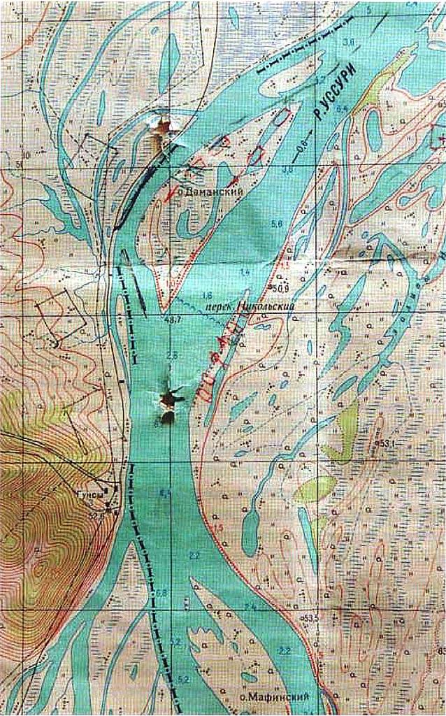 Карта окрестностей даманского, принадлежавшая полковнику Д.В. Леонову