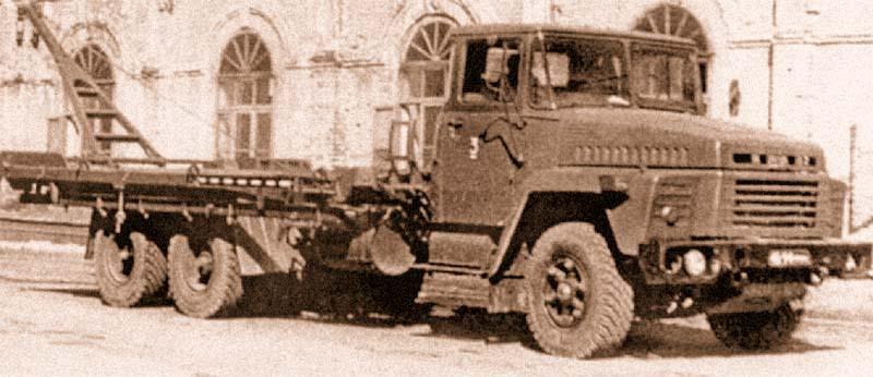 Понтонный автомобиль на шасси КрАЗ-255Б парка ПМП