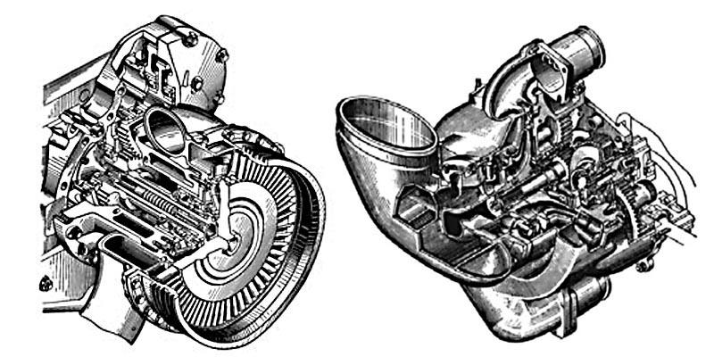 Турбина (слева) и нагнетатель дизеля 5ТДФ