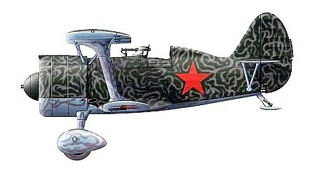 Советский истребитель И-15бис в камуфляжной окраске. Монголия, 1939 г.