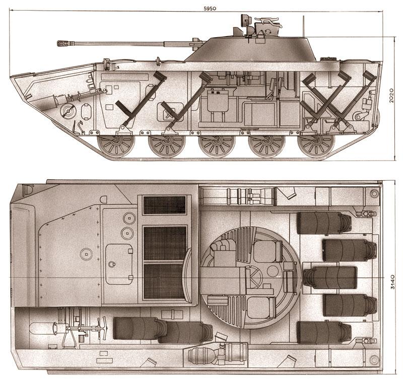 Вариант боевой машины десанта на основе БМП-2, предложенный КМЗ. Обратите внимание на размещение универсальных сидений для десантирования боевого расчета внутри машины