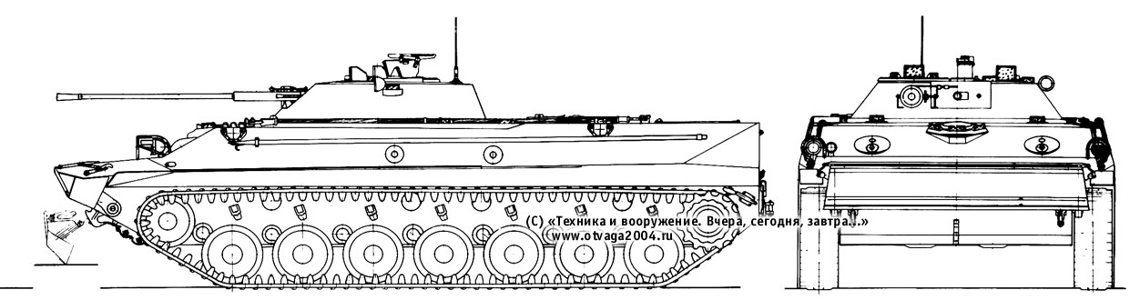 Проекции боевой машины десанта «Объект 937» увеличенной вместимости на семиопорном шасси танка «Объект 934» с боевым отделением, аналогичным БМП «Объект 675».