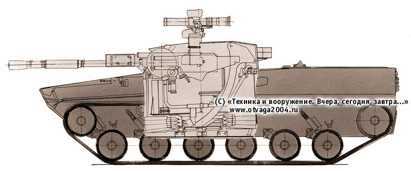 Вариант боевой машины пехоты с 76-мм орудием, рассматривавшийся в рамках ОКР «Басня-2» (предложение ВНИИТрансмаш)