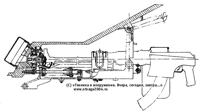 Курсовые установки автоматического гранатомета АГС-17 и ручного пулемета РПКС-74 в лобовом листе корпуса БМД-3