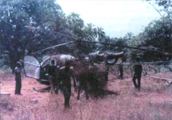 Один из вертолетов «Хилер» UH-12E, захваченных биафрийцами в Харикорте