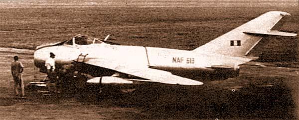 Нигерийский МиГ-17Ф, аэродром Харикорт, 1969 г.