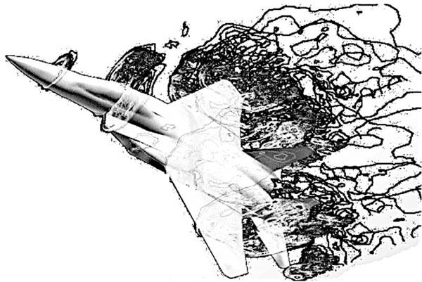 Рис. 20. Фрагмент вихревой структуры около истребителя F-15 на угле атаки 45°. Расчет методом отсоединенных вихрей [7]