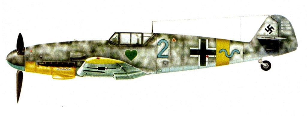 Истребитель Bf109G-2 из состава 7./JG54, на котором 6 января 1943 г. был сбит и погиб фельдфебель Йозеф Брехтель