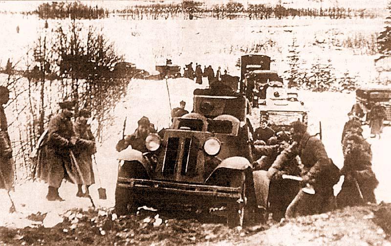 Бронеавтомобиль ФАИ 44-го отдельного разведывательного батальона 90-й стрелковой дивизии преодолевает подъем. Карельский перешеек, декабрь 1939 года