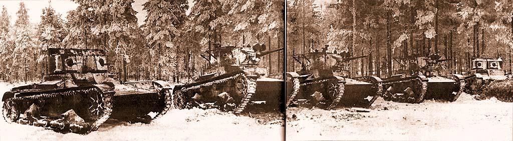 Танки Т-26 различных модификаций (образца 1933 года с поручневыми антеннами, зенитными установками и фарами для ночной стрельбы, а также образца 1931 года двухбашенные пулеметные) из состава 35-й легкотанковой бригады на фронте. Февраль 1940 года