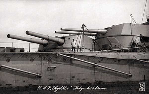 Две кормовые башни главного калибра, уничтоженные в бою у Доггер-Банки