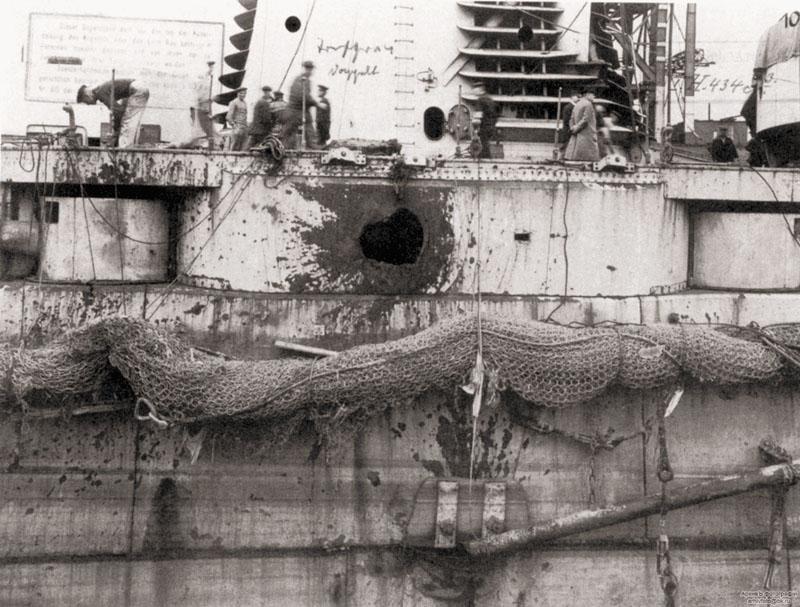 Повреждения на «Зейдлице» после Ютландского сражения