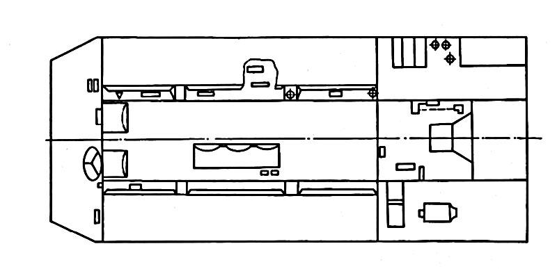 Схема размещения рабочих мест членов экипажа (передний отсек) и моторного отделения в боевой машине ЗРК «Оса-АКМ»