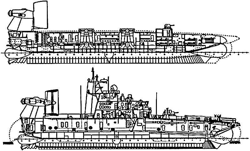 Компоновка десантного корабля на воздушной подушке пр.12322