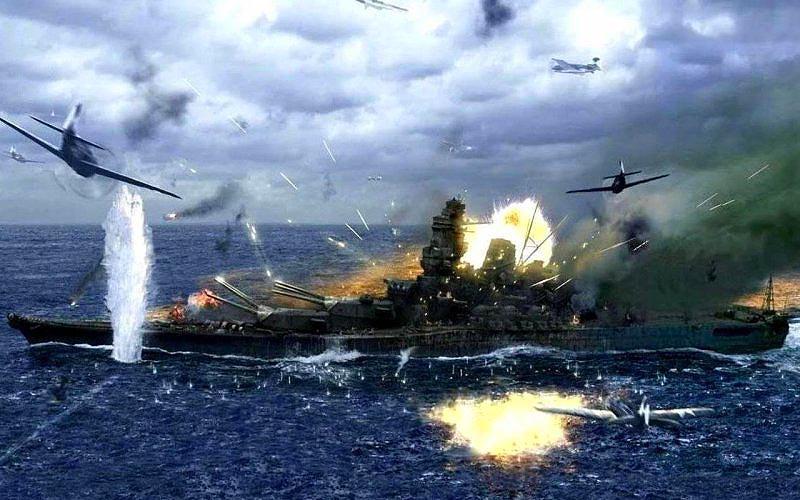 Японский линкор «Ямато» атакован америкаскими самолетами