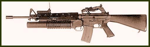 Американская 5,56-мм штурмовая винтовка М16А1 с подствольным 40-мм гранатометом М203, унифицированным по выстрелам с М-79 и Mk.19