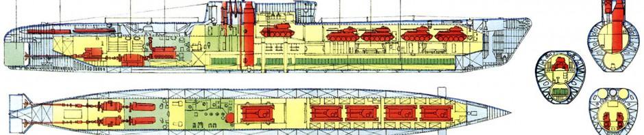 подводные лодки в поперечном и продольном разрезе